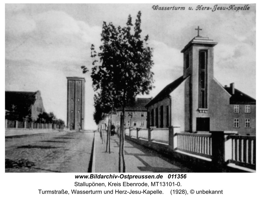 Stallupönen, Turmstraße, Wasserturm und Herz-Jesu-Kapelle