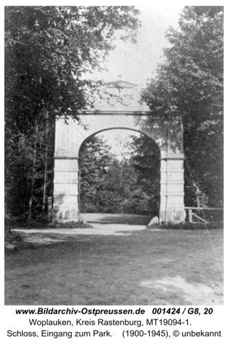 Woplaucken, Schloss, Eingang zum Park