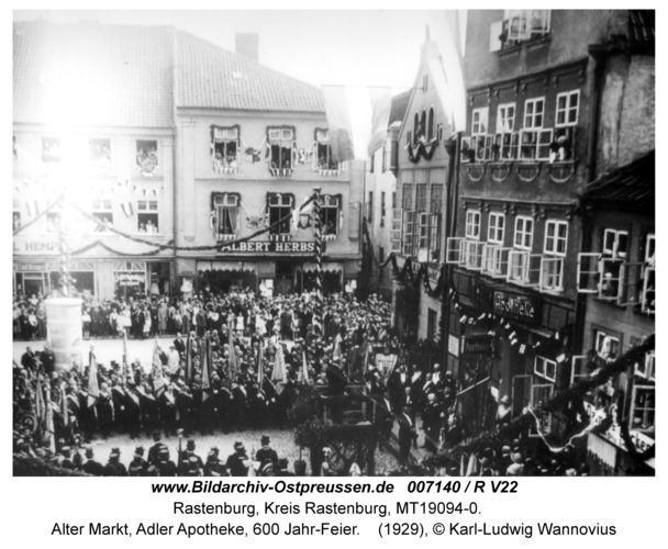 Rastenburg, Alter Markt, Adler Apotheke, 600 Jahr-Feier