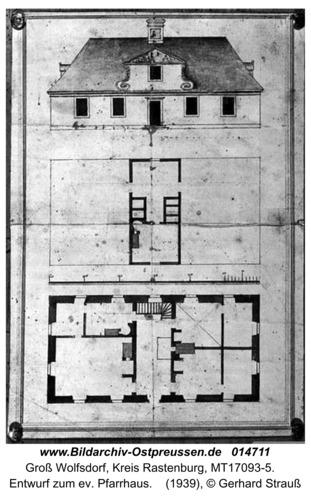 Groß Wolfsdorf,  Entwurf zum ev. Pfarrhaus