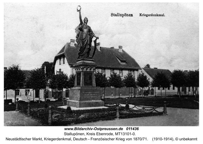 Stallupönen, Neustädtischer Markt, Kriegerdenkmal, Deutsch - Französische Krieg von 1870/71