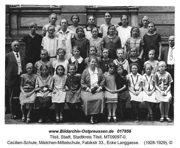 Tilsit, Cecilien-Schule, Mädchen-Mittelschule, Fabikstr 33., Ecke Langgasse