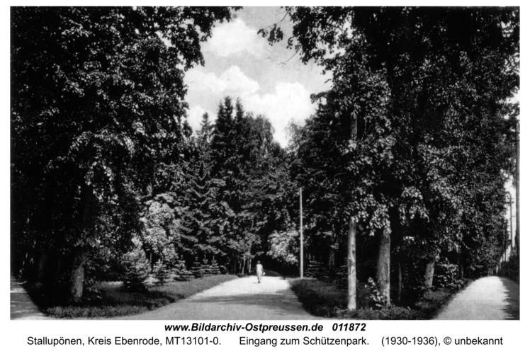 Stallupönen, Eingang zum Schützenpark