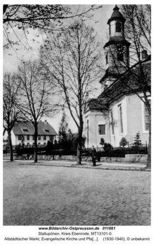 Stallupönen, Altstädtischer Markt, Evangelische Kirche und Pfarrhaus