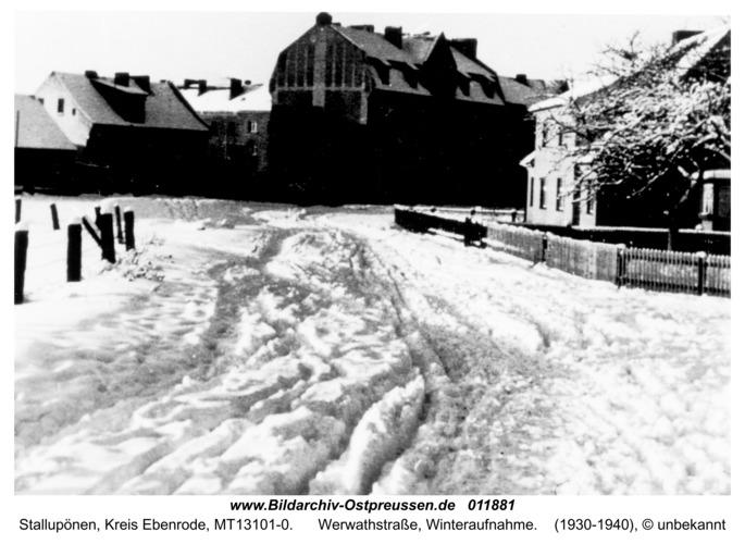 Stallupönen, Werwathstraße, Winteraufnahme