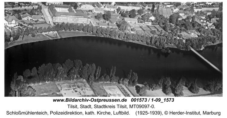 Tilsit, Schloßmühlenteich, Polizeidirektion, kath. Kirche, Luftbild
