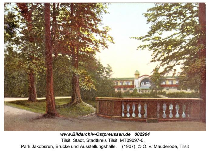 Tilsit, Park Jakobsruh, Brücke und Ausstellungshalle