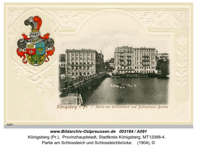 Königsberg, Partie am Schlossteich und Schlossteichbrücke