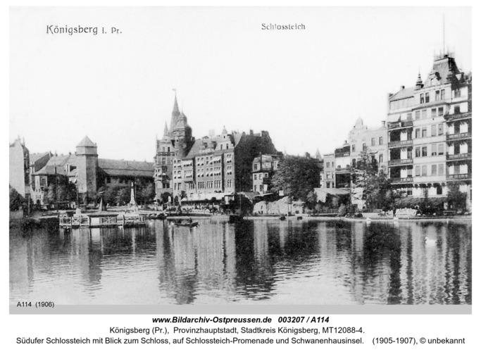 Königsberg, Schloßteich mit Blick auf Schloßteich-Promenade und Schwanenhausinsel