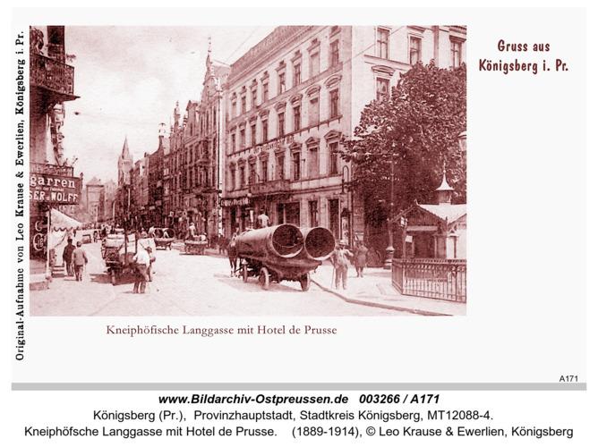 Königsberg, Kneiphöfsche Langgasse mit Hotel de Prusse