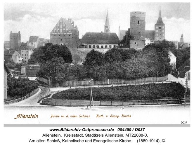 Allenstein, Am alten Schloß, Katholische und Evangelische Kirche
