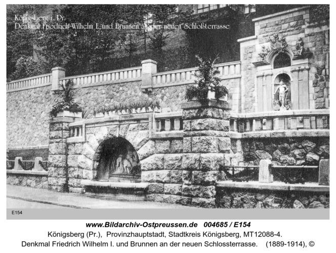 Königsberg, Denkmal Friedrich Wilhelm I. und Brunnen an der neuen Schlossterrasse