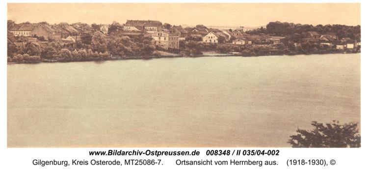 Gilgenburg, Ortsansicht vom Herrnberg aus