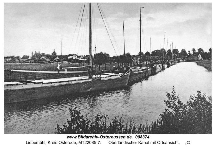 Liebemühl, Oberländischer Kanal mit Ortsansicht