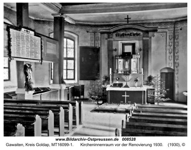 Gawaiten, Kircheninnenraum vor der Renovierung 1930