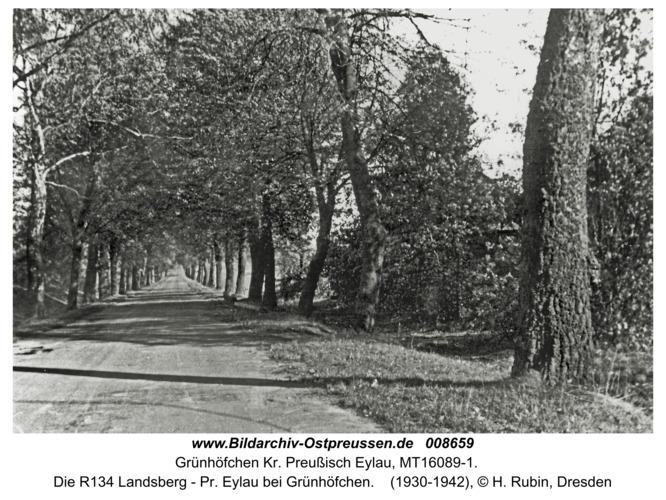 Grünhöfchen Kr. Preußisch Eylau, Die R134 Landsberg - Pr. Eylau bei Grünhöfchen