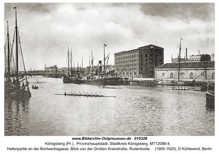 Königsberg (Pr.), Hafenpartie an der Bohlwerksgasse, Blick von der Großen Kranstraße, Ruderboote