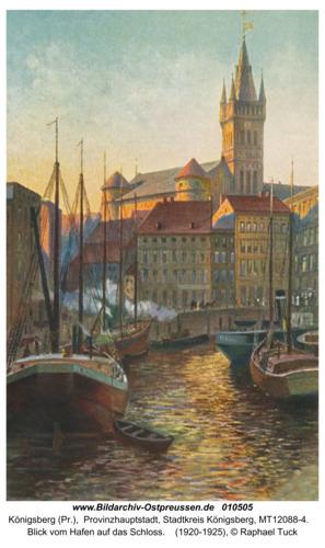 Königsberg, Blick vom Hafen auf das Schloss