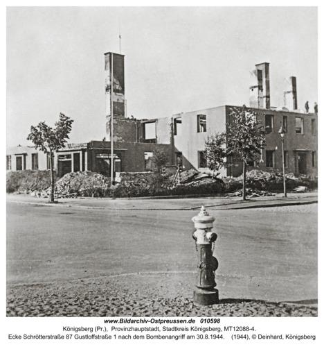 Königsberg, Ecke Schrötterstraße 87 Gustloffstraße 1 nach dem Bombenangriff am 30.8.1944