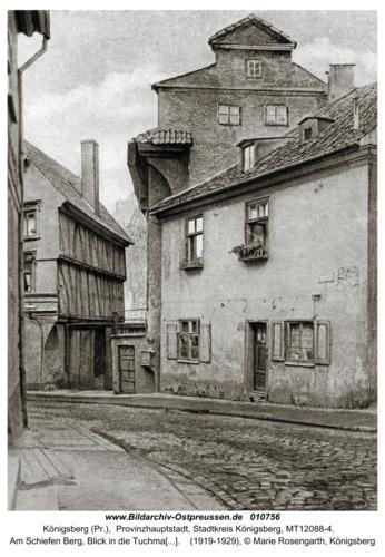 Königsberg (Pr.), Am Schiefen Berg, Blick in die Tuchmacherstraße