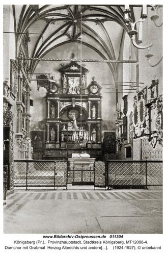 Königsberg, Domchor mit Grabmal  Herzog Albrechts und anderen Grabmälern und Epitaphien