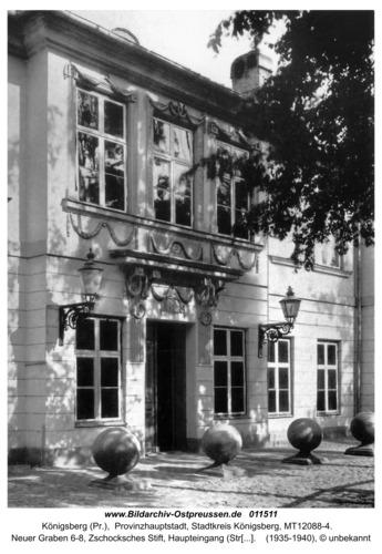 Königsberg (Pr.), Neuer Graben 6-8, Zschocksches Stift, Haupteingang (Straßenseite)