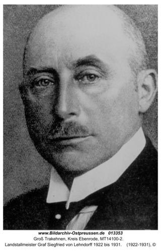 Groß Trakehnen, Landstallmeister Graf Siegfried von Lehndorff 1922 bis 1931