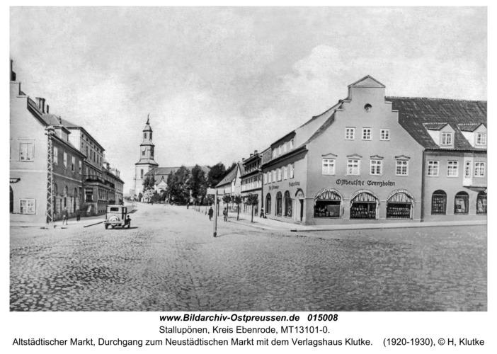 Stallupönen, Altstädtischer Markt mit dem Verlagshaus Klutke