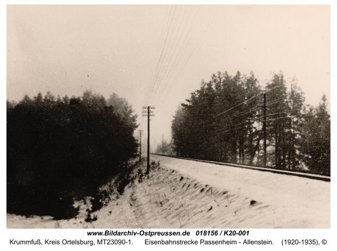 Krummfuss, Eisenbahnstrecke Passenheim - Allenstein