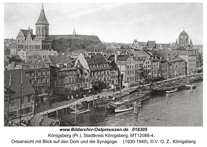 Königsberg, Ortsansicht mit Blick auf den Dom und die Synagoge