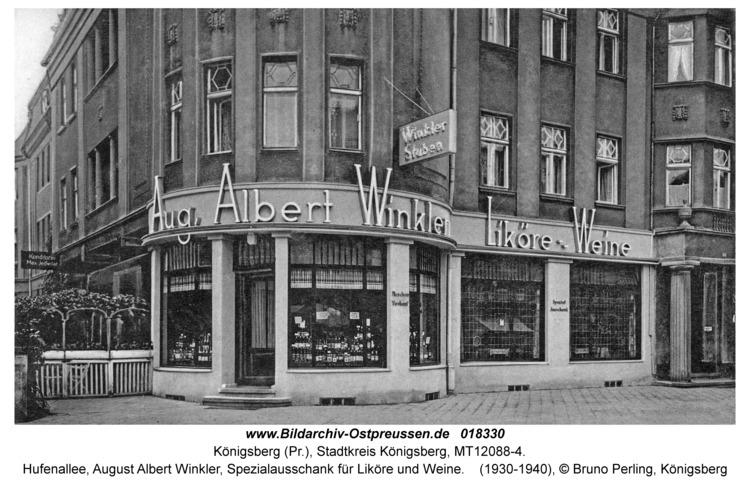 Königsberg, Hufenallee, August Albert Winkler, Spezialausschank für Liköre und Weine