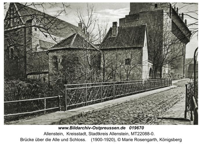 Allenstein, Brücke über die Alle und Schloss