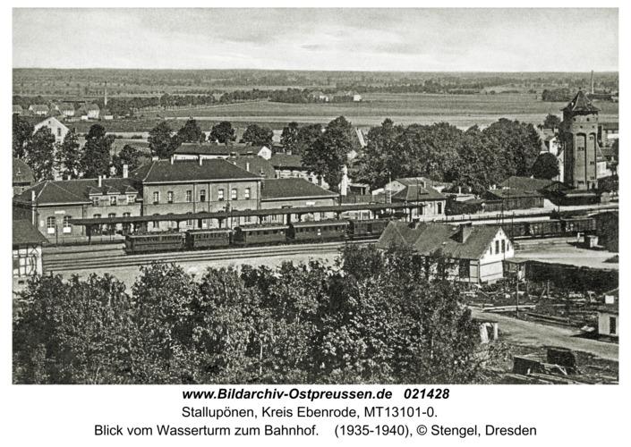 Stallupönen, Blick vom Wasserturm zum Bahnhof
