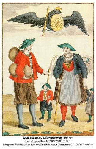Salzburger Einwanderer, Emigrantenfamilie unter dem Preußischen Adler (Kupferstich)