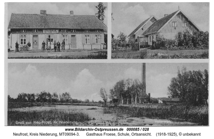 Neufrost, Gasthaus Froese, Schule, Ortsansicht