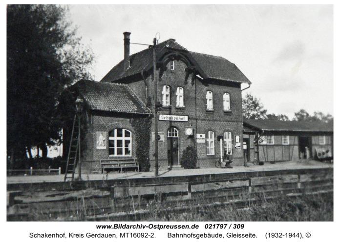 Schakenhof, Bahnhofsgebäude, Gleisseite