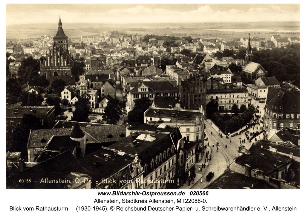 Allenstein, Blick vom Rathausturm