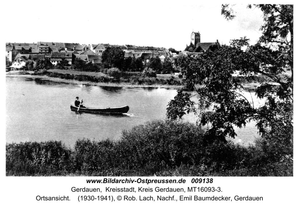 Gerdauen Ansichtskarte, Blick auf die Stadt