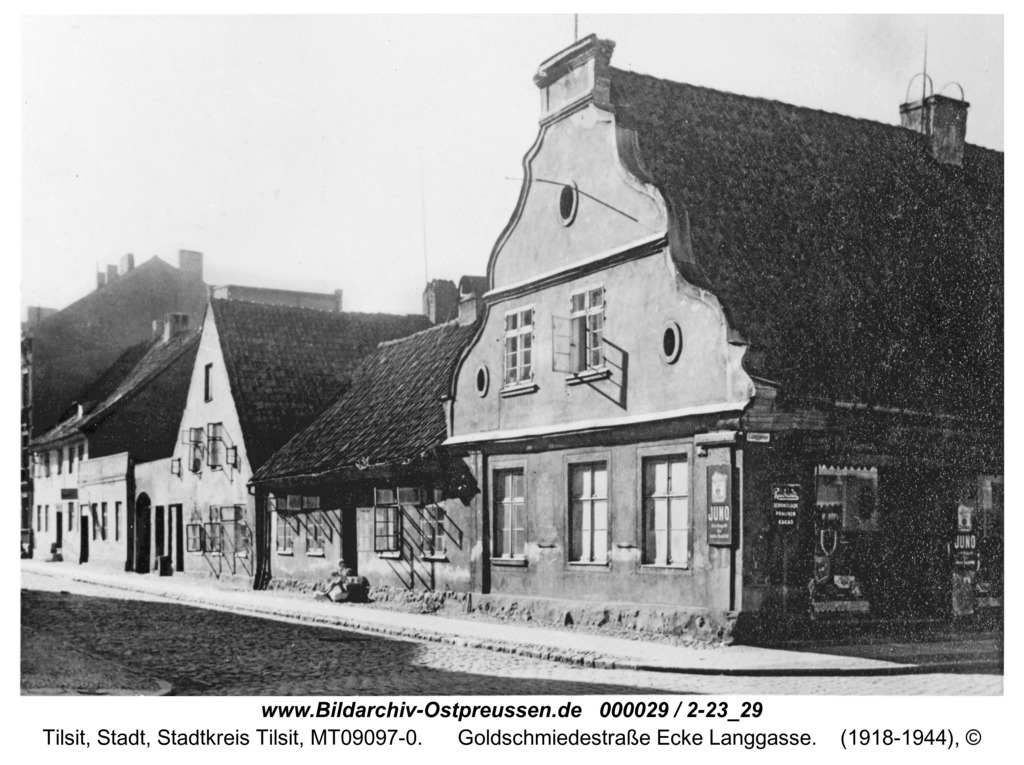 Tilsit, Goldschmiedestraße Ecke Langgasse