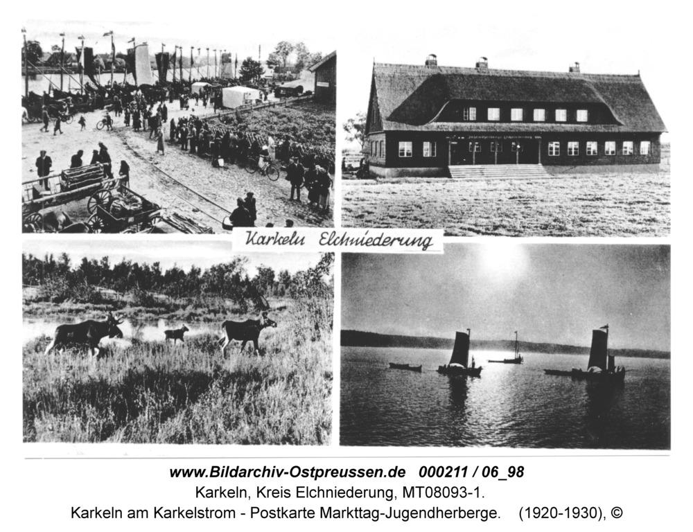 Karkeln am Karkelstrom - Postkarte Markttag-Jugendherberge