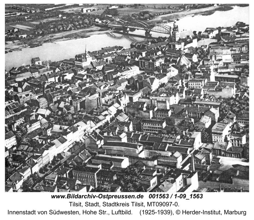 Tilsit, Innenstadt von Südwesten, Hohe Str., Luftbild