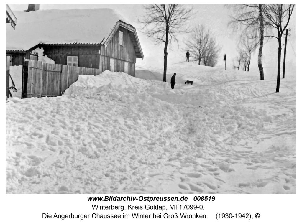 Winterberg, Die Angerburger Chaussee im Winter bei Groß Wronken