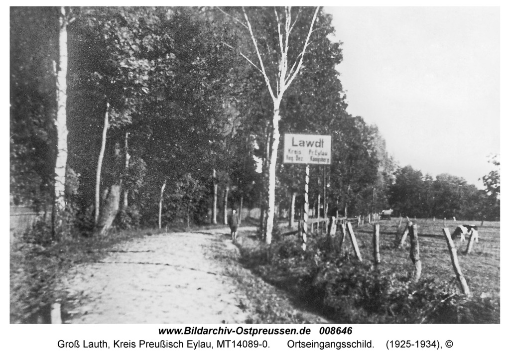 Groß Lauth, Ortseingangsschild