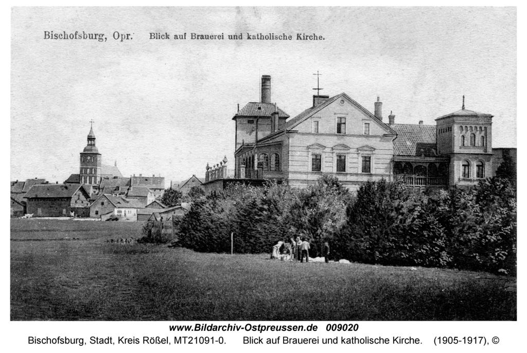 Bischofsburg, Blick auf Brauerei und katholische Kirche