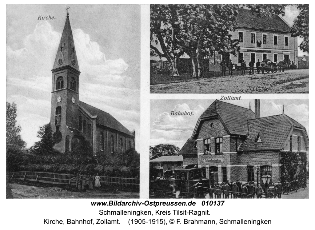 Schmalleningken, Kirche, Bahnhof, Zollamt