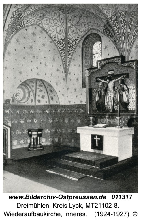 Dreimühlen Kr. Lyck, Wiederaufbaukirche, Inneres