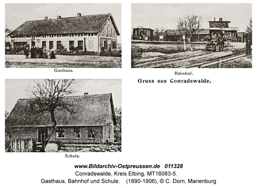 Conradswalde, Gasthaus, Bahnhof und Schule