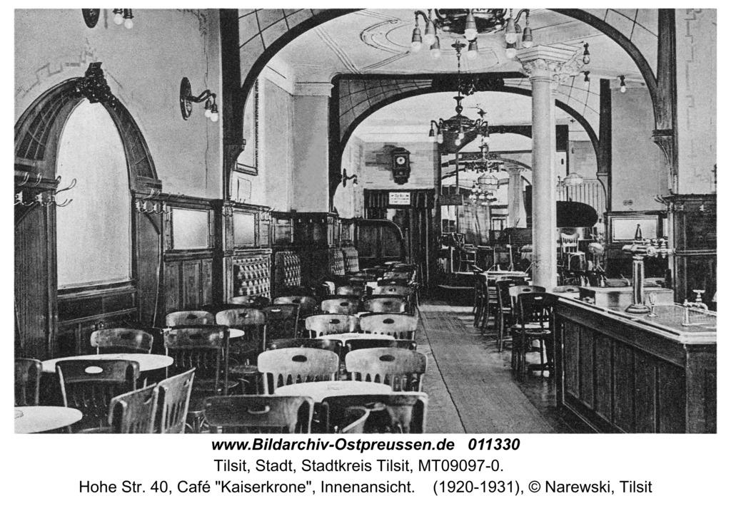 """Tilsit, Hohe Str. 40, Café """"Kaiserkrone"""", Innenansicht"""