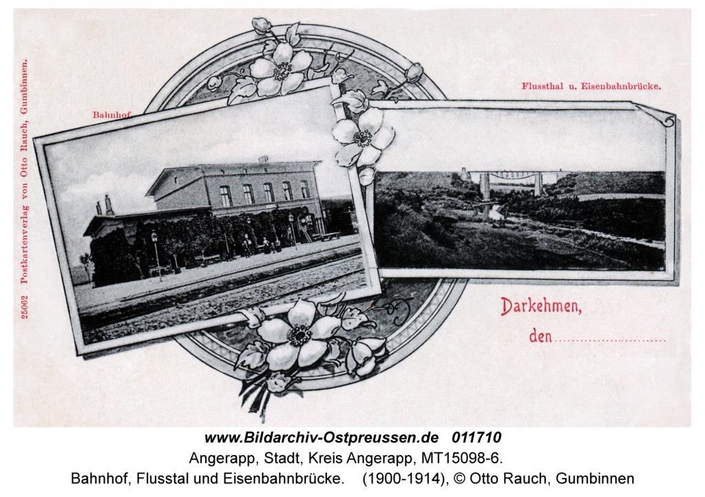 Angerapp, Bahnhof, Flusstal und Eisenbahnbrücke