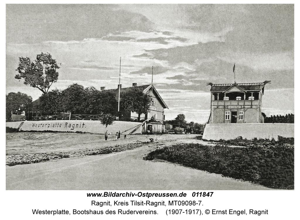 Ragnit, Westerplatte, Bootshaus des Rudervereins